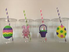 Easter party cups, Easter Birthday Party Cups, Easter Egg Hunt Party, Bunny Party, Bunny Birthday Pa Easter Birthday Party, Bunny Birthday, 3rd Birthday, Birthday Parties, Bunny Party, Party Cups, Paper Straws, New Years Party, Egg Hunt