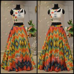 Grab this beautiful printed Skirt and Crop top from Team Teja! Indian Gowns, Indian Attire, Indian Wear, Indian Outfits, Indian Clothes, Lehenga Designs, Kurta Designs, Blouse Designs, Churidar