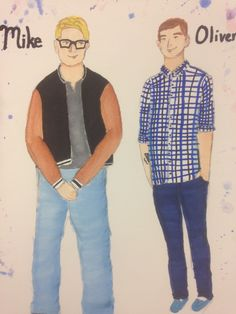 Mike and Oliver  Rendering from Elly Hunt's costume design of Theory of Relativity