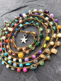 Colorful crochet wrap bracelet necklace Lil' RainBow