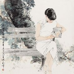 Chinese Painting: He Jiaying - The Reading of Girls, 1988 Art Asiatique, China Art, The Draw, Traditional Paintings, Chinese Painting, Ink Painting, Japanese Art, New Art, Art Reference