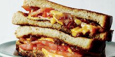 Tomato Grilled Cheese sandwich, with Beer and Bacon Marmalade. Recipe from chef David Bancroft, of Acre in Auburn, Alabama, who provides an updated version of the classic tomato-and-white bread sandwich. Photo by Johnny Autry. | Garden and Gun