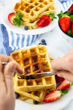 You are going to love these classic vegan waffles! They are super quick and easy to make and they are golden crispy on the outside and perfectly fluffy on the inside. They make the perfect vegan breakfast! Waffle Recipes, Cookie Recipes, Vegan Meals, Vegan Recipes, Dairy Free Waffles, Eggo Waffles, Almond Flower, King Arthur Flour, Vegan Breakfast