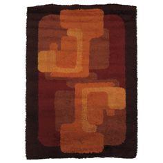 Anonymous; Wool Rya Rug, 1970s.