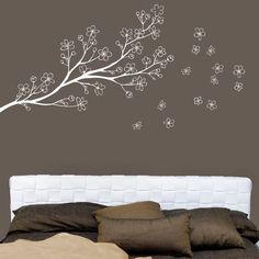 White on a grey wall. Ryukyu - Branch wall decal - white - Japanese inspiration. $35.00, via Etsy.