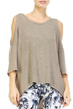 This 3/4 sleeves top features an allover acid wash round-neckline with cold-shoulder and an asymmetrical high-low hem.  Acid Wash Top by Mono B. Clothing - Tops New Jersey