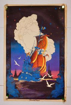 "1970 Star City Inc ""Friendship Frigate"" Artist Brunnell VTG Black Light Poster"