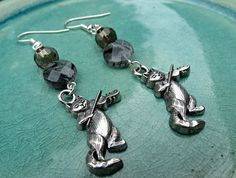 Gray Cat and Fiddle Charm Cat Lover Tourmaline Quartz and Smoky Quartz Earrings by SparkleCatStudio.   We donate 25% of our proceeds to animal rescues.  Find us on Facebook: https://www.facebook.com/SparkleCatStudio