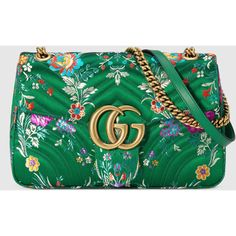 Gucci Gg Marmont Floral Jacquard Shoulder Bag ($1,790) ❤ liked on Polyvore featuring bags, handbags, shoulder bags, borse, green, flower print handbags, chain shoulder bag, oversized purses, gucci and gucci purse