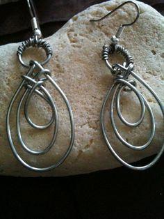 Wire wrapped triple hoop earrings  by BLLstudio,