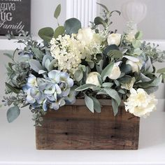 Farmhouse Floral Arrangement~Cottage Decor~Large Table Centerpiece~Blue and Creamy White Hydrangeas with Greenery in a Wood Box Blue Hydrangea Centerpieces, Round Table Centerpieces, Eucalyptus Centerpiece, Lemon Centerpieces, Centrepieces, Wedding Centerpieces, Summer Flower Arrangements, Beautiful Flower Arrangements, Peonies And Hydrangeas