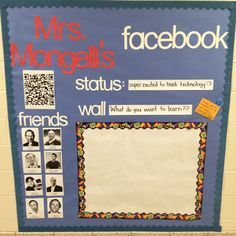 This bulletin board is inspiring.  I can see doing a facebook page that relates to a book or a character from a book.  A really fun display.