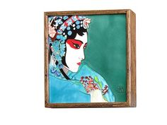 This framed painting from Pureland illustrates the makeup and apparel of a traditional Chinese opera singer with a right-side face profile.  With a nice Elmwood wooden frame and green-blue background