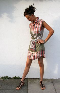 Insert a longer insert in the middle......... Upcycled Shirt Dress Red Plaid & Beige Stripes Made in England UK
