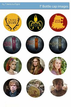 "Free Bottle Cap Images: Game of Thrones Free digital bottle cap images 1"" 1inch"