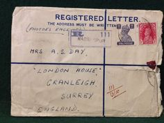 Scarce 1940s Registered Letter Linen Lined Envelope Nagri Spur India 8as & 1a