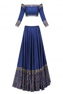 Navy and Gold Sequins Lehenga with Offshoulder Crop Top #asthanarang #shopnow #ppus #happyshopping