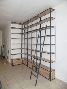 Biblioth que de style industriel acier et bois mobilier - Etagere murale style industriel ...