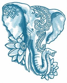 Japanese Embroidery Fish Indian elephant with lotus 2 machine embroidery design - Elephant Tattoo Design, Elephant Tattoos, Elephant Design, Elephant Drawings, Embroidery Shop, Embroidery Designs, Machine Embroidery, Zentangle Elephant, Elefante Tattoo