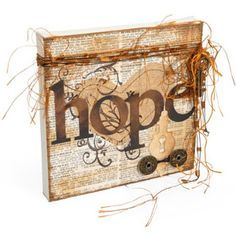 Hope Heart Canvas - need Sizzix machine to get directions for cutting shapes. Mini Canvas Art, Small Canvas, Altered Canvas, Altered Art, Scrapbook Canvas, Heart Canvas, Canvas Crafts, Wood Crafts, Camping Crafts