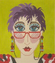 0 point de croix femme à lunettes - cross stitch woman with glasses