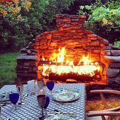 like this outdoor fireplace Outside Fireplace, Backyard Fireplace, Fire Pit Backyard, Backyard Patio, Backyard Landscaping, Open Fireplace, Landscaping Ideas, Rustic Outdoor Fireplaces, Outdoor Fireplace Designs