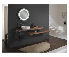 Set di 1 lavabo da parete con accessori noce - 8 pezzi