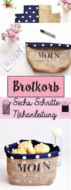 Hier findest du eine Nähanleitung, mit der du in nur sechs Schritten einen nord… Here's a sewing guide that lets you make a Nordic bread basket of jute and cotton in just six easy steps. The sewing instructions are also… Continue reading → Sewing Hacks, Sewing Tutorials, Sewing Tips, Sewing Patterns Free, Knitting Patterns, Easy Knitting, Jute, Diy Couture, Love Sewing