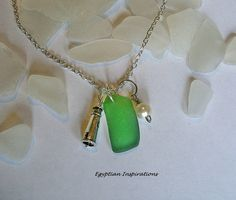 Lighthouse necklace. Sea glass jewelry. by EgyptianInspirations, $23.99