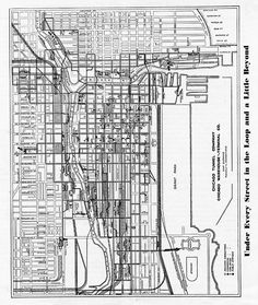 Chicago Tunnel Co. System Map, Chicago Map, Old Maps, Hare, Illinois, Flags, 1920s, Artworks, Cities
