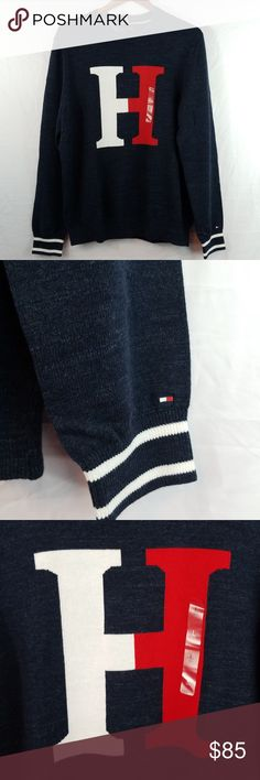 a6ca0121 Tommy Hilfiger Crewneck Sweater New with tags H centered Blue,red,white  Super soft form fitting crewneck sweater Tommy Hilfiger Sweaters Crewneck