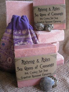 SEA QUEEN OF CONNAUGHT 16th Century Salt  Soap - Made with Pink Himalayan Salt. Colored with Rose Clay and Scented with Essential Oils of Pink Grapefruit, Palmarosa, and Rosewood.