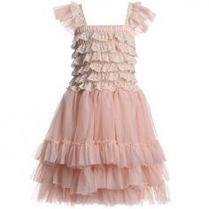 Angel's Face - Blush Pink Ballroom Lace Tulle Dress | Childrensalon