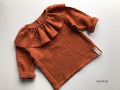 Musselin blouse size 68 ready to ship muslin shirt orange red long sleeve blouse volant collar ruffle blouse girls blouse baby girl Storing Baby Clothes, Cute Baby Clothes, Baby Outfits, Kids Outfits, Muslin Dress, Stylish Dress Designs, Girls Blouse, Little Girl Dresses, Girls Dresses
