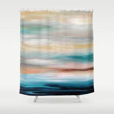 Beach Shower Curtain, Ocean Shower Curtain, Abstract Shower Curtain, Turquoise Gray Bathroom Decor, Bath Accessories, Coastal Decor