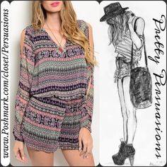 """NWT Boho Print Cold Shoulder Long Sleeve Romper NWT Multicolored V-Neck Long Sleeve Cold Shoulder Romper   ** Please do not purchase this listing. I will make you a personal listing if you'd like to purchase **  Available in sizes: S, M, L  Measurements taken in inches from a size small:  Length: 31"""" Bust: 38""""  This trendy navy & multicolored romper features long slit sleeves & cold shoulder detailing, keyhole opening at back, and v-neckline.   Bundle discounts available  No pp or trades…"""