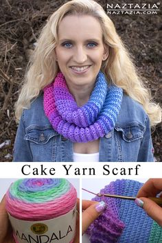 Crochet Cake Yarn Scarf - free pattern and video by Donna Wolfe from Naztazia