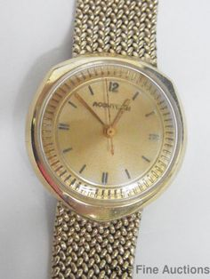 Vintage 1960s Sputnik Era Asymmetrical 14K Gold Bulova Accutron Mens Watch #Accutron #LuxuryDressStyles
