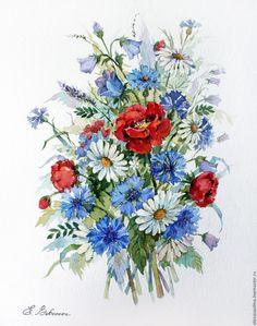 Купить Маки - ярко-красный, красный, подарок, маки, букет, цветы, букет цветов, акварель