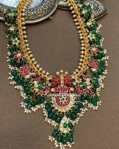 Jadau Guttapusalu Traditional Necklace By Kanakdharaa! Jewelry Design Earrings, Gold Jewelry, Jewelery, Gold Necklace, Indian Jewellery Design, Indian Jewelry, Temple Jewellery, Bridal Jewelry Sets, Jewelry Patterns