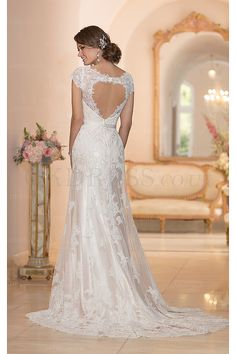 Charming V-neck Sweep Train Empire Backless Wedding Dresses - by OKDress UK