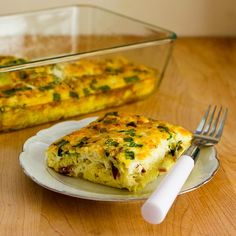 Recipe for Broken Arm Breakfast Casserole with Cottage Cheese, Bacon, Feta, and Green Onions.  This is a recipe I created in 2013 when I had a broken arm, so think how easy it will be with two good arms! [from KalynsKitchen.com] #DeliciouslyHealthyLowCarb