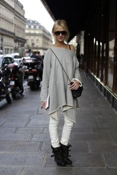 This type of over-sized poncho over white skinny jeans (or even blue skinny jeans) with a wedge shoe or ankle boot would be chic and comfortable, especially with hair up showing off your neck!