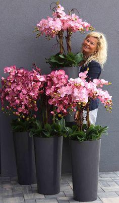 Potted Orchid Centerpiece, Orchid Flower Arrangements, Orchid Planters, Artificial Flower Arrangements, Artificial Flowers, Luxury Flowers, Garden Terrarium, Flower Farm, Plant Decor