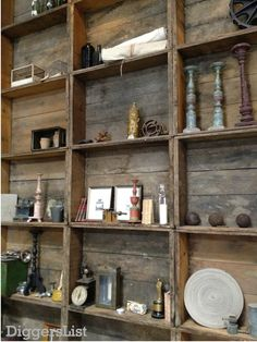 This is repurposed wood box shelving, one on top of the other, side by side. I'm thinkin' hallway (a WIDE one!), above the wainscoting? Or the same on a wall?