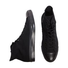 Converse Hi Monochrome Black ($68) ❤ liked on Polyvore featuring shoes, sneakers, converse, black, military footwear, converse sneakers, nba shoes, kohl shoes and monochrome sneakers