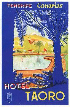 Vintage hotel Taoro luggage label from Tenerife