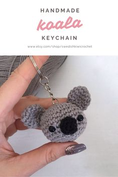 Handmade Koala Keychain One of my best-sellers! Get yours now. 🙂 You are in the right place about Crochet socks. Crochet Crafts, Crochet Toys, Crochet Baby, Crochet Projects, Amigurumi Patterns, Knitting Patterns, Crochet Keychain Pattern, Crochet Patterns For Beginners, Crochet Animals