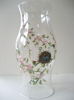 handpainted glass hurricane candleholder wedding by TivoliGardens