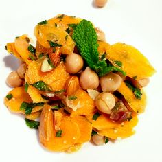 Protein Salad with carrots, chick peas, date and lots of mint.